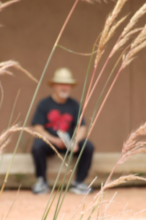 blurry man with grass in front by Val Daigen